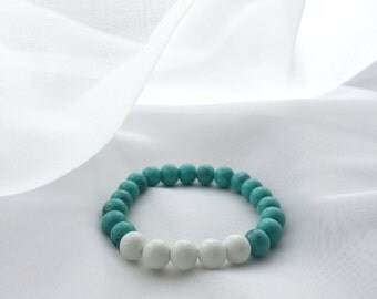 Turquoise Glass Beaded Bracelet Jewelry Gift For Her Boho Minimalism Style Accessories