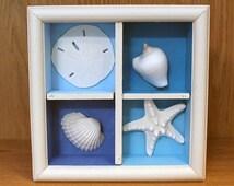 Sea Shell Wall Hanging, Beach Shadow Box, Seashell Shadow Box, Starfish Wall Hanging, Sand Dollar Wall Art