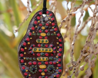 "Colorful ""Hammer People"" Clay Pendant"
