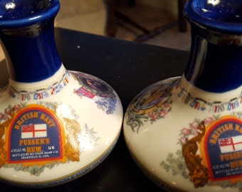 British Navy pair of Pussers Rum fine Porcelain bottles