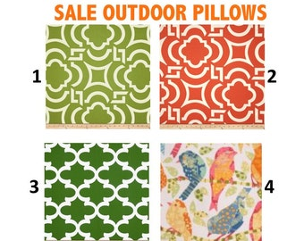 SALE OUTDOOR Halloween Pillow Cases Outdoor Pillows Decorative Orange Coral  Green,18x18 16X16, 14x16