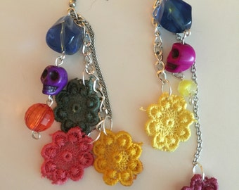 Day of the dead doily bouquet earrings