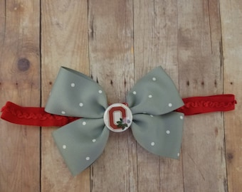 Newborn Ohio State baby headband-Ohio infant headband-OSU infant headband- OSU baby girl headband-Ohio State girl shower gift-newborn osu