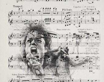 Printing / Antique sheet Music /michael jackson/ Hand made decor interior picture ART