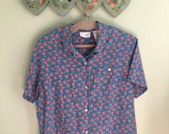 Rose Pattern Short Sleeve Button Down Medium/Large