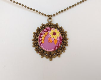 Polymer clay Floral Necklace  Embroidery Pendant  Hand sculpted jewelry Gift for mom botanical jewelry