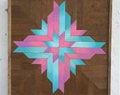 """Wood Wall Art,  Wood Wall Decor, Reclaimed Wood Wall Decor,  Blue, Pink,  """"Ombre  Snowflake"""",  16.75"""" ×16.75"""" Reclaimed Wood Wall Art"""