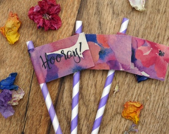 Watercolour fabric floral flags on drinking straws   Perfect for Hen Parties   Bachelorette   Birthdays   Customisable
