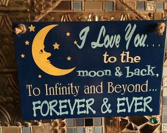 Baby Nursery I Love You To The Moon And Back Wooden Wall Sign