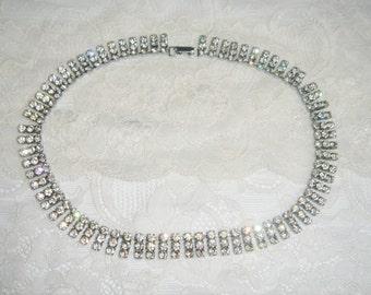 Vintage Clear Rhinestone Necklace, Wedding Jewelry, 1950s Necklace,