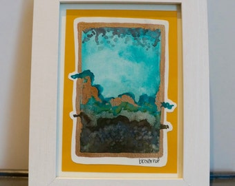 """Original Small Abstract Watercolor Painting, Teal, Gray, Green, with gold leaf detail and frame, titled """"Blur"""""""