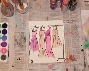 "7.5"" x 9"" Watercolor Print - ""Dresses"""
