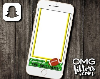 Football Game Day - Custom Snapchat Filter - Any Wording! Your Teams Colors!
