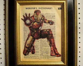 Ironman Art Print on Vintage Dictionary