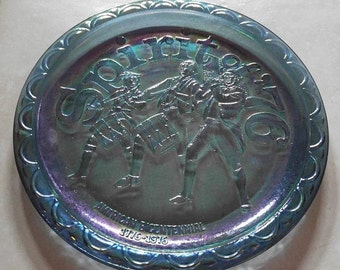 """Carnival Glass 8"""" Round Plate Spirit of '76 Bicentennial Collector's Plate"""
