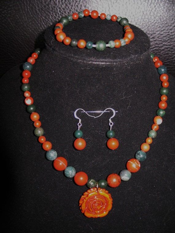 Red and green jasper necklace, bracelet, earring set