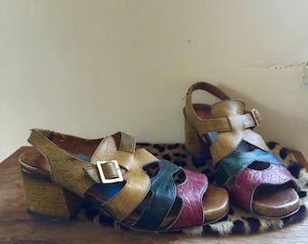 1960s Block Heel Sandals, size 6.5