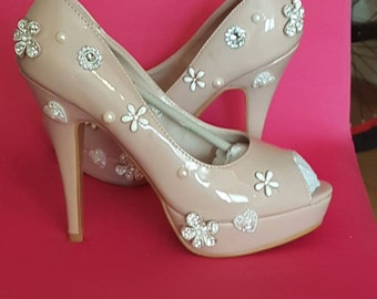 Hand designed peep toe high heels