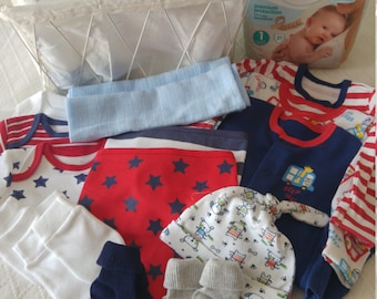 Beautiful baby boy bright colored starter set.