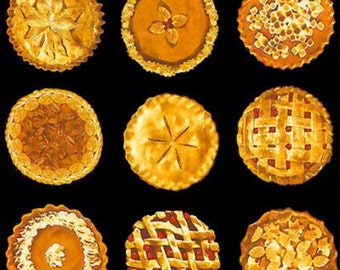 Bake Sale Fabric- Pies Fabric Panel Black Background- Thanksgiving pies, holiday pies, Christmas pies
