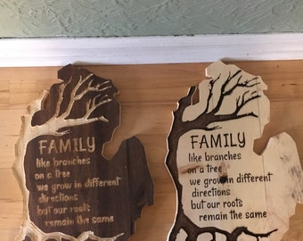 Michigan Family Roots Wooden engraved Sign, Branches, Family Wall Decore