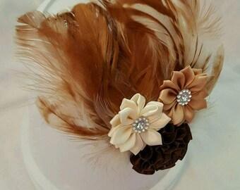 Brown feather headband