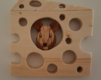 Wood Wall Hanging - Mouse in Cheese - Intarsia Wood Wall Art