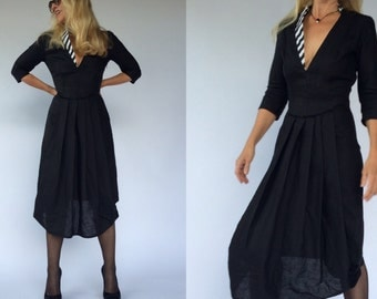 LINEN BLACK DRESS. Made to Order.