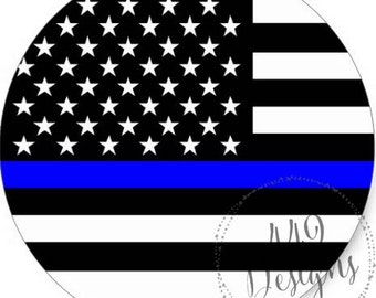 The Thin Blue Line Police and Law Enforcement Support Stickers, Tags, and/or cupcake Toppers, Various Sizes available