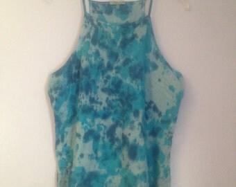 blue Splatter tye dye halter top