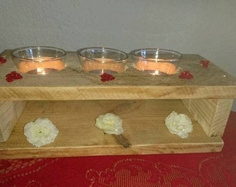 Upcycling tea light holder from Palettehholz with 3 tea light glasses