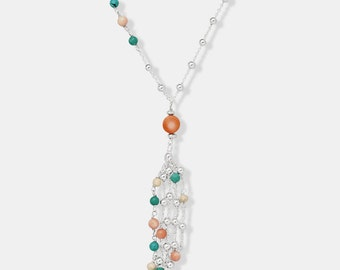"""Delicate Beaded Tassel Necklace with Pink Coral, Turquoise and Riverstone beads - 30"""""""