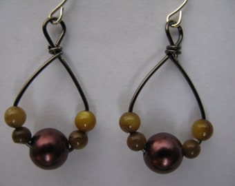 tiger's eye and mauve earrings