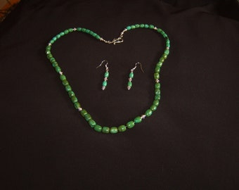 Natural Stone; Green Turquoise Necklace set