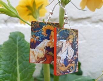 Mucha Four Seasons earrings - Art Nouveau, wooden, Christmas, light earrings