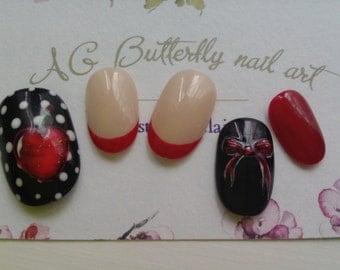 Kit false onles nail art, cherry and node vintage, oval short
