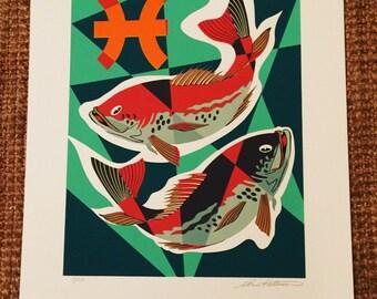 Pisces - Vintage Signed Zodiac Art Print Serigraph