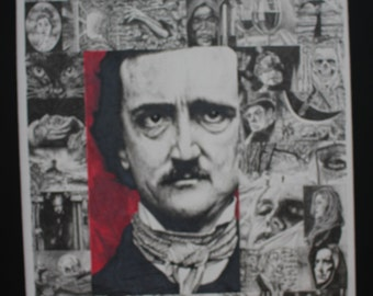 Edgar Allan Poe Original Colored Pencil Drawing