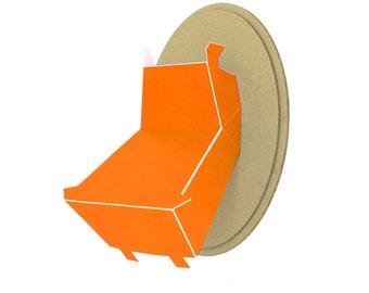 Trophy paper - head of Hippo - Orange Pop