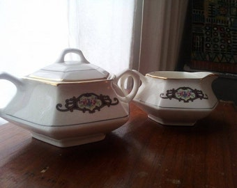 Floral cream and sugar set- 1920's