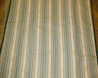 Handmade Tied Quilt 35 x 46 Green Gold Striped