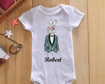 Bunny baby onesie, personalized baby bodysuit, custom baby name, custom onesie, custom baby clothes, custom baby bodysuit, funny onesie