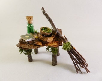 Fairy Magical Craft Table  - Handcrafted, Fairy House, Fairy Furniture, Fairy Garden, Miniature, Fairy Accessories, Indoor Garden, Dollhouse