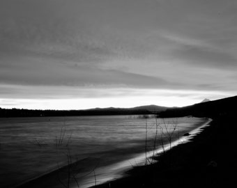 Black and white sunrise over the Columbia River in Portland, Or