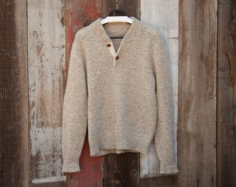 80s Retro Wool Sweater, Wood Bottons Oatmeal Wool Sweater