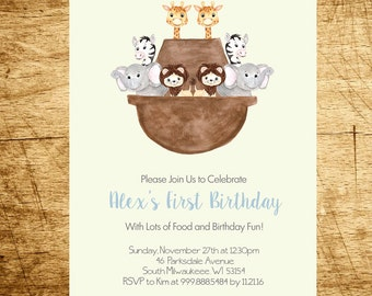 Noah's Ark Birthday Party Invitation, PRINTABLE, Digital File, Watercolor Noah's Ark