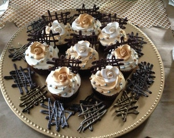 Modern Chocolate Gold and White Cupcakes