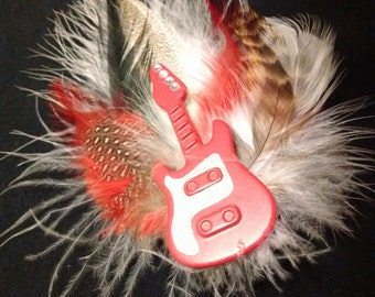 Unique rock n roll guitar feather hair piece