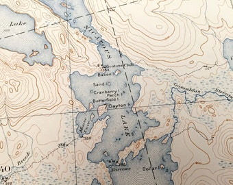 Antique Nicatous Lake Maine 1934 Us Geological Survey Topographic Map West Lake Duck