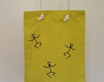 Jumping stickman tote bag